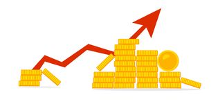 Stack of golden coin like income graph royalty free illustration
