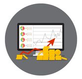 Stack of golden coin like income graph stock illustration