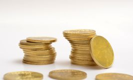 Stack of Golden Coins on  background Royalty Free Stock Photo