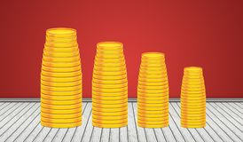 Stack of Golden Coins in 3D room background Stock Photos