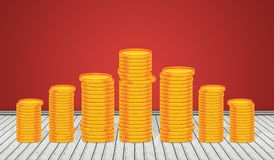 Stack of Golden Coins in 3D room background Stock Image