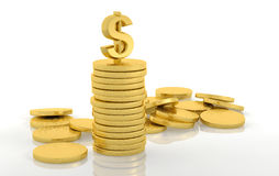 Stack of golden coins with dollar Royalty Free Stock Photography