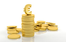 Stack of golden coins with euro Royalty Free Stock Photo