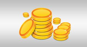 Stack of Golden Coins Illustrated on White background.  Stock Photography