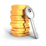 Stack of golden coins with metallic key. Business financial success achivement concept 3d render illustartion Royalty Free Stock Photos
