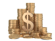 Stack of golden coins with sign of dollar Stock Photography