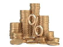 Stack of golden coins with sign of percents. 3d rendered stacks of golden coins with sign of percents Royalty Free Stock Images