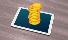 Stack of Golden Coins on Smart Tablet Royalty Free Stock Photos