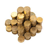 Stack of golden coins from top Stock Photo