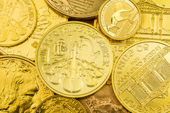 Stack of golden coins. Stack of various golden coins Stock Photo