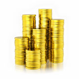 Stack of golden coins. On white background Royalty Free Stock Photos