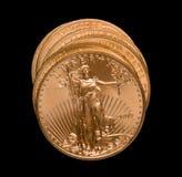 Stack of golden eagle coins stock photos