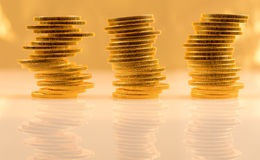 Stack of golden eagle coins Stock Photography
