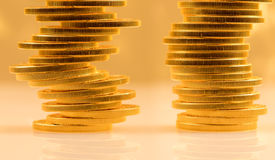 Stack of golden eagle coins Royalty Free Stock Photo
