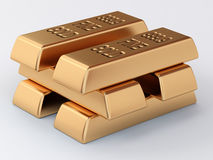 Stack of golden ingots. The pile of golden ingots Stock Image