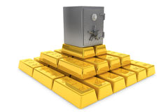 Stack of golden ingots with bank vault. Secure Concept. Stack of golden ingots with bank vault on a white background Stock Image