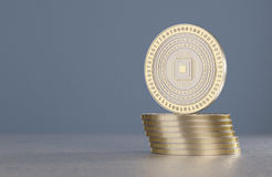 Stack of golden and silver coins as example for virtual crypto currency, bitcoin and blockchain technology Royalty Free Stock Photo