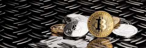 Stack of golden silver crypto currency coins royalty free stock images