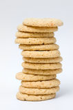 Stack of grain cookies. On white bsckground Royalty Free Stock Photos