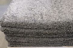 Stack gray bath mats the bath mats Stack, stacked on top of each other. stock image