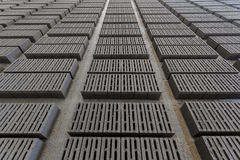 Stack of gray bricks Royalty Free Stock Photo