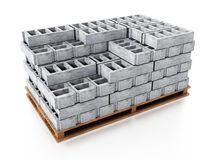 Stack of gray construction bricks standing on wooden base. 3D illustration Stock Photos