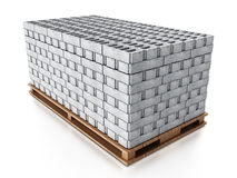 Stack of gray construction bricks standing on wooden base. 3D illustration Royalty Free Stock Photo