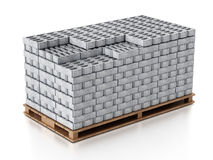 Stack of gray construction bricks standing on wooden base. 3D illustration Stock Image