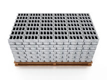Stack of gray construction bricks standing on wooden base. 3D illustration Stock Images