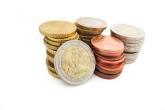 Stack of Greek Euro coins in white background Stock Photos