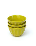 Stack of green bowls Stock Photo