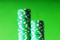 Stack of green casino Royalty Free Stock Photography