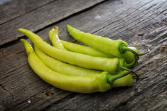 Stack of green chili peppers Stock Image