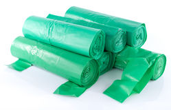 Stack of green garbage bags Stock Photos