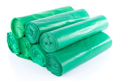 Stack of green garbage bags Royalty Free Stock Photography