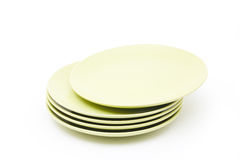 Stack of green plates Royalty Free Stock Photos