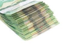 Stack of green polymer bills Stock Image