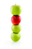 Stack of green and red apples. Isolated on white background stock photography