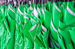 Stack of green umbrellas Royalty Free Stock Photo