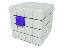 Stack of grey cubes and a unique blue. A isolated Stack of grey cubes and a unique blue Stock Image