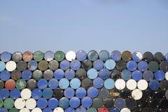 Stack of grunge oil tank barrel background- image stock images