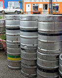 Stack of Guinness Beer Kegs in Ireland Stock Photo