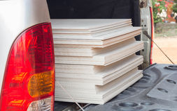 The stack of gypsum board for construction. On the truck Royalty Free Stock Images