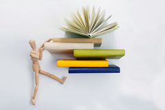 Stack of hadrback books. Library education concept. Back to school. Copy space Stock Photos
