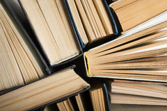 Stack of hadrback books on white background. Library education concept. Back to school. Copy space Stock Photo