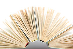 Stack of hadrback books on white background. Library education concept. Back to school. Copy space Royalty Free Stock Photos