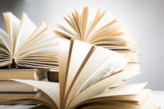 Stack of hadrback books on white background. Library education concept. Back to school. Copy space Royalty Free Stock Images