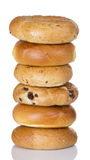 Stack Of Half Dozen Freshly Baked Bagels Royalty Free Stock Photography