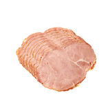 Stack of ham slices isolated Stock Images