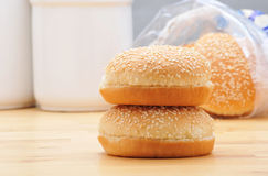 Stack of Hamburger Buns Royalty Free Stock Photography